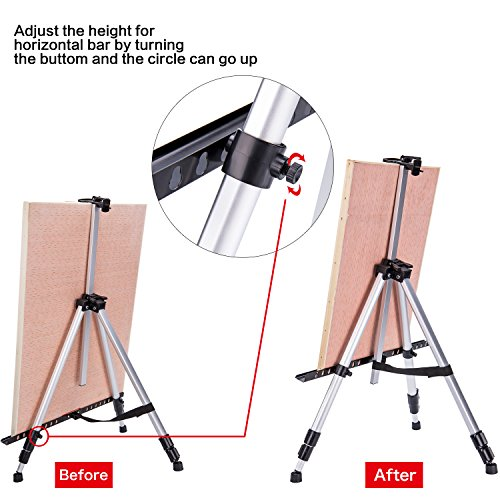 66 Inch Folding Aluminum Easel - Lightweight Tabletop Art Standing Easels for Adults&Kids Painting on Canvas,Board - Telescoping Floor Easel by Bianyo