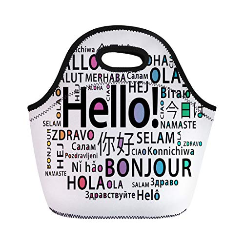 Semtomn Lunch Tote Bag Translate Hello in Different Languages Bonjour Education Class Communication Reusable Neoprene Insulated Thermal Outdoor Picnic Lunchbox for Men Women