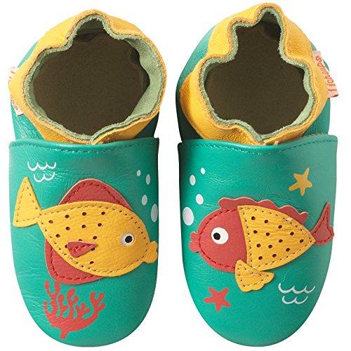 e367704b78f0c Tichoups chaussons bébé cuir souple gaston et louison les poissons ...