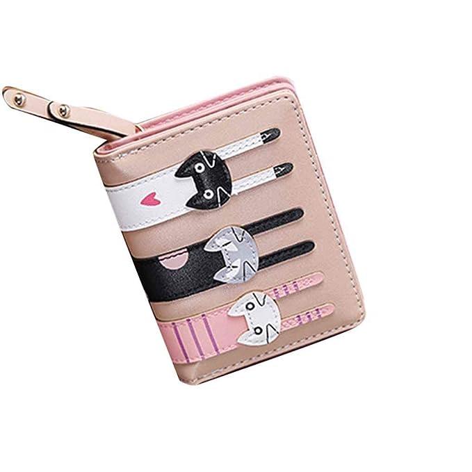 Plzlm Mujeres PU titular de la tarjeta Monedero corto de tres gatos plegable del monedero del embrague: Amazon.es: Ropa y accesorios