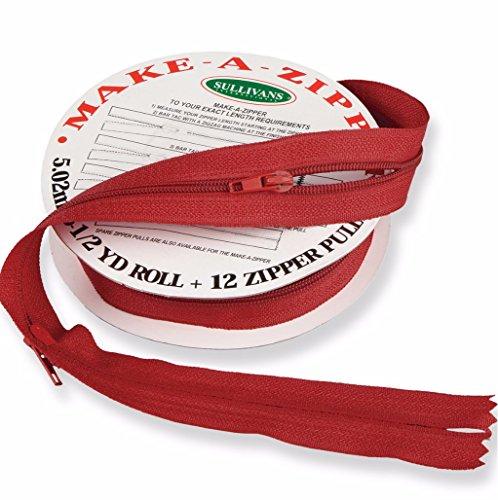Sullivans Make-A-Zipper Kit, 5-1/2-Yard, Red - Red Zipper