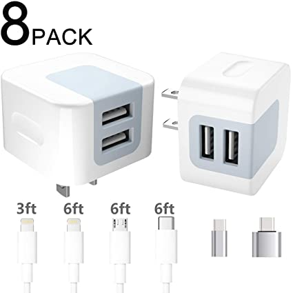 Amazon.com: Dodoli - Cargador de pared USB (8 en 1, 2,4 A ...