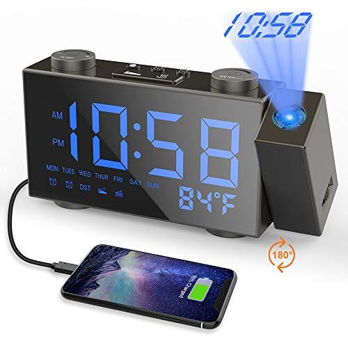 Moskee Projection Alarm Clock Digital Black Dual Alarm Clocks for