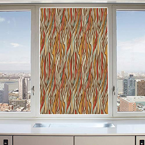 3D Decorative Privacy Window Films,Abstract Geometric Zebra Pattern Strips in Vintage Colors Creative Artwork,No-Glue Self Static Cling Glass film for Home Bedroom Bathroom Kitchen Office 17.5x36 Inch