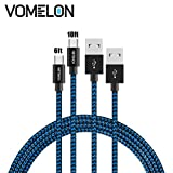 Micro USB Cable, 2Pack [6FT+10FT] Nylon Braided Tangle-Free High Speed Sync and Charge Cable for Samsung Galaxy S6,Huawei, LG, HTC, Sony, Android Phones and Tablets, Kindle -Blue+Black