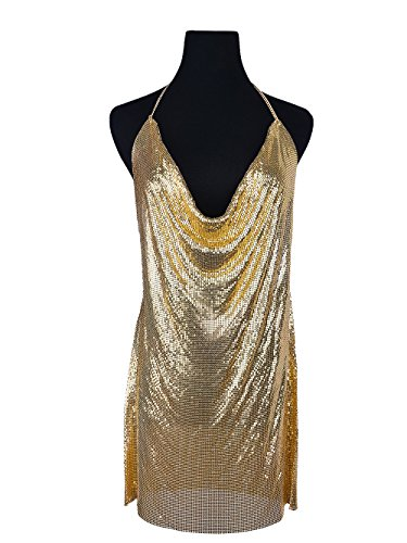 Qiuqian Ladies Sexy Backless Halter Chain Evening Dresses Shiny Sequins Open-Back Long Skirt Body Jewelry ()