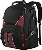 Travel laptop backpack,Large Capacity Travel College bag for Men Women,TSA friendly Fashion Business Backpack with laptop compartment,Water Resistant School bag with USB Port Fits 17 Inch Notebook-Red