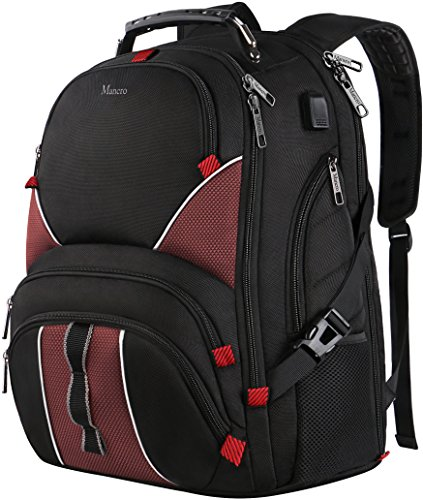 TSA Travel Backpack,17 Inch Laptop Backpack for Men Women with USB Charging Port,Water Resistant Big Computer Backpack for Hiking,School,College,Work,Red