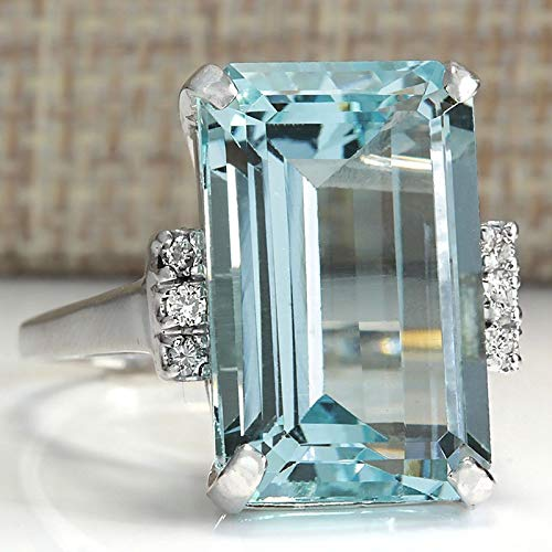 Vintage Women 925 Sterling Silver Aquamarine Gemstone Ring Wedding Jewelry Gift (Update Version)