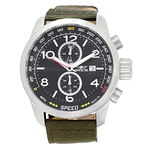 Invicta Men's 19409SYB Aviator Stainless Steel Watch with Nylon Strap