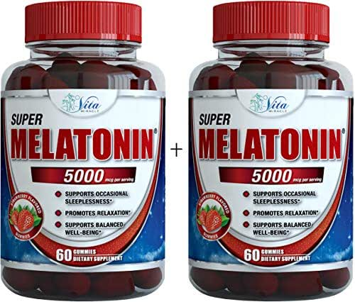 Melatonin Gummies 5mg Chewable Gummy - Adults and Kids Great Tasting Instant Release Sleeping Pills Supplement Plus Works Over Time Best Childrens Sleep Aid (2 Pack)