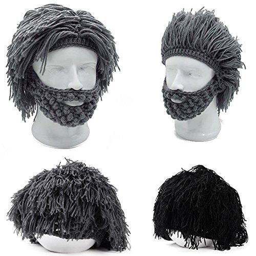 Toyofmine Mens Boys Funny Wig Beard Hats Hobo Mad Caveman Winter Knit Warm Hat Beanies Grey -