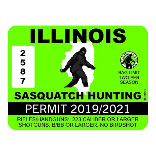 "RDW Illinois Sasquatch Hunting Permit - Color Sticker - Decal - Die Cut - Size: 4.00"" x 3.00"""