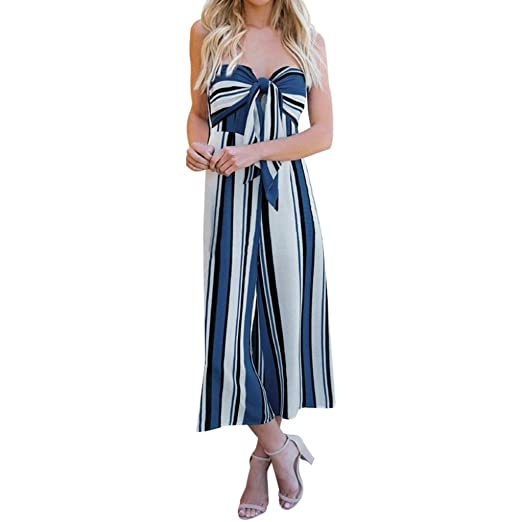 dc677892916b Amazon.com  Women Jumpsuit Sexy Strapless Tie Front Striped Print Wide Legs  Playsuit Rompers  Clothing
