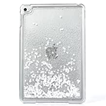 Liquid Case for iPad Mini 4,Creative Design Bling Glitter Shiny Quicksand Sparkle Stars and Flowing Liquid Transparent Plastic Case for Apple iPad Mini 4(Star White)