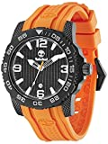 Timberland Men's Quartz Watch with Blue Dial Analogue Display and Orange Plastic or PU Strap TBL.13613JSB/02