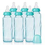 Evenflo Feeding Vented Plus Glass Tinted Bottle 6 Piece, Teal, 8 Ounce