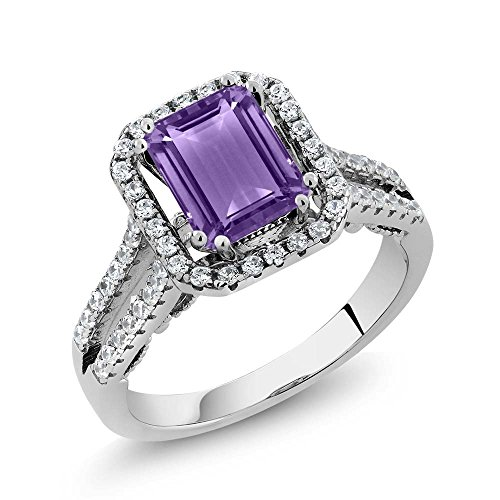 Gem Stone King 925 Sterling Silver Purple Amethyst Engagement Ring 2.78 Ctw Emerald Cut, Gemstone Birthstone (Size 7)