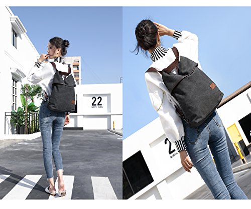 For Red Womens Rucksack Tote School Backpack Wine Hozee Canvas Shopping Black Daily Travel Bags Shoulder Vintage Handbag Casual Bag Work 0xv0UPqwI