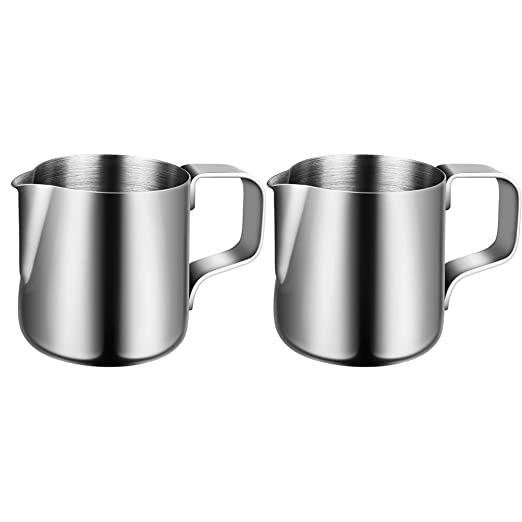UPKOCH 2 piezas taza de espuma de leche de acero inoxidable jarra ...