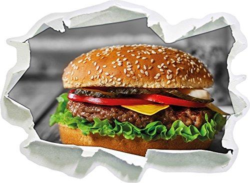 appetitlicher Cheeseburger schwarz/weiß, Papier 3D-Wandsticker Format: 92x67 cm Wanddekoration 3D-Wandaufkleber Wandtattoo