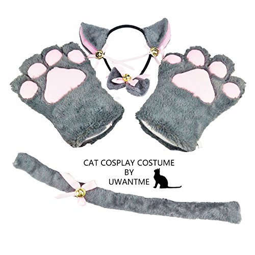 Cat Cosplay Costume Kitten Tail Ears Collar Paws Gloves Anime Lolita Gothic (Halloween Neko Costume)