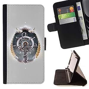 For HTC Desire 820 Case , Rueda de la nave- la tarjeta de Crédito Slots PU Funda de cuero Monedero caso cubierta de piel