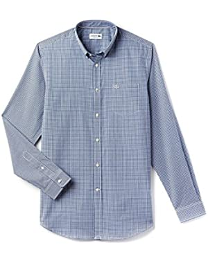 Lacoste Men's Men's Blue Checked Gingham Shirt in Size 2XL Blue