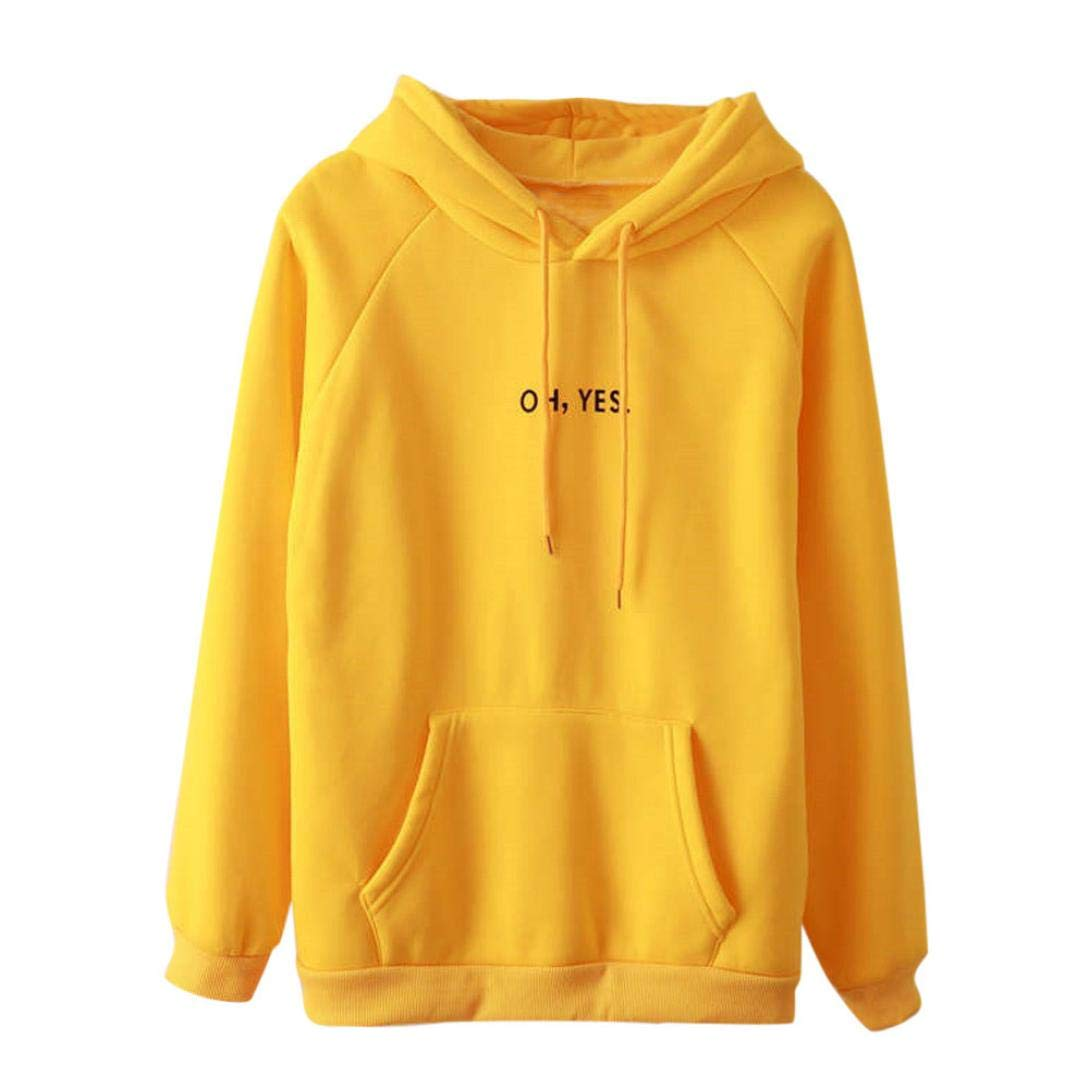 Pullover Tops-Han Shi Womens Long Sleeve Oh Yes Print Casual Sweatshirt Hoodies (Yellow, L)