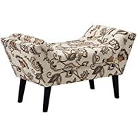 Haobo Fabric Vanity Arm Bench Tufted Upolstered Single Bench Footstools for Bedroom, Livingroom and Entryway, Pattern