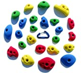 24 Climbing Holds Pack Bolt Ons for Kids Climbing Wall - Great for Preschoolers and Up - Bright Tones