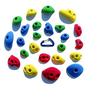 24 Climbing Holds Pack Bolt Ons for Kids Climbing Wall Great for Preschoolers and Up Bright Tones