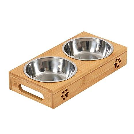 BOTTLEWISE Comederos para Gatos y Perros Platos de Acero Inoxidable Tazón Soporte Mesa Elevado con Soporte