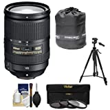 Nikon 18-300mm f/3.5-5.6G VR DX ED AF-S Nikkor-Zoom Lens with 3 Filters + Pouch + Tripod Kit for D3200, D3300, D5300, D5500, D7100, D7200 DSLR Camera