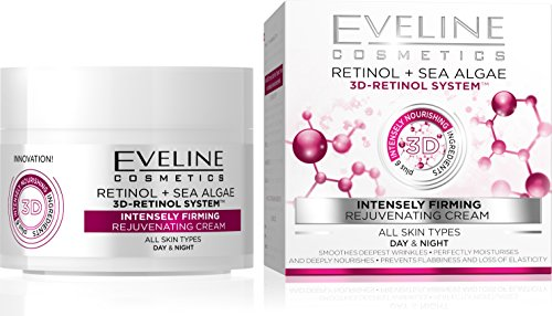 Eveline Cosmetics Nature Line 3D Retinol & Sea Algae Intensely Firming Rejuvenating Cream Day And Night Cream, Reducing Wrinkles, Fine Lines, Age Spots for All Skin Types