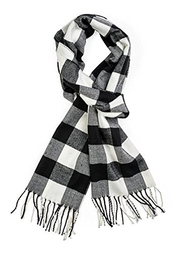Classic Luxurious Soft Cashmere Feel Unisex Winter Scarf in Checks and Plaid (Buffalo Plaid Black-White) (White Plaid Fleece)