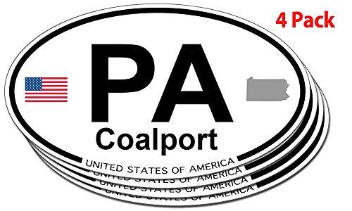 Coalport, Pennsylvania Oval Sticker - 4 pack