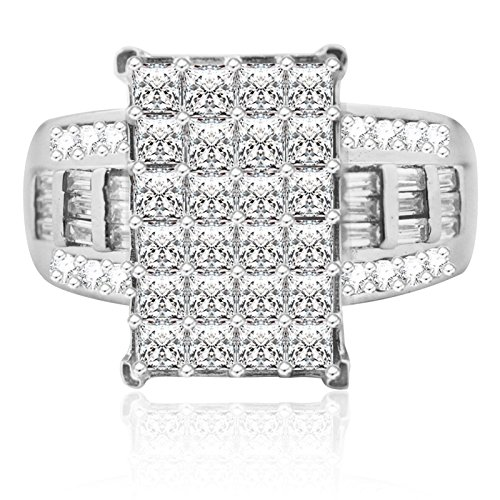 14mm Wide Wedding Ring 3 in 1 Style Princess Cut, baguettes and Round Sterling Silver (Wedding 14 Mm Band)