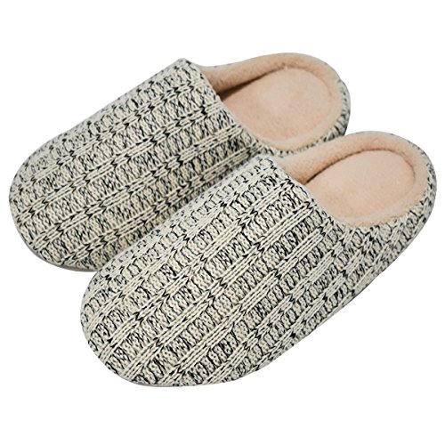 coface Mens House Slippers Cashmere Knitted Anti-Slip Winter Warm Home Indoor Shoes,DBE-4041