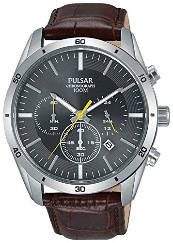 (Pulsar Gents Brown Leather Grey Face Chrono PT3837X1)