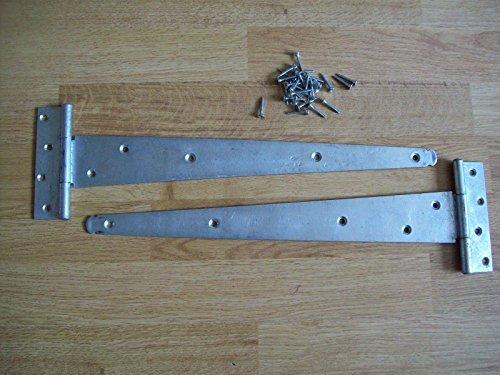 Ironmongery World 2 Sizes Heavy Duty Hot Dip Galvanised Gate Door Tee Hinges ... by Ironmongery World by Ironmongery World