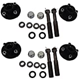 Two 4 on 4'' Trailer Axle Kits 2000 lbs Idler Hubs Round Spindles Bearings Seals