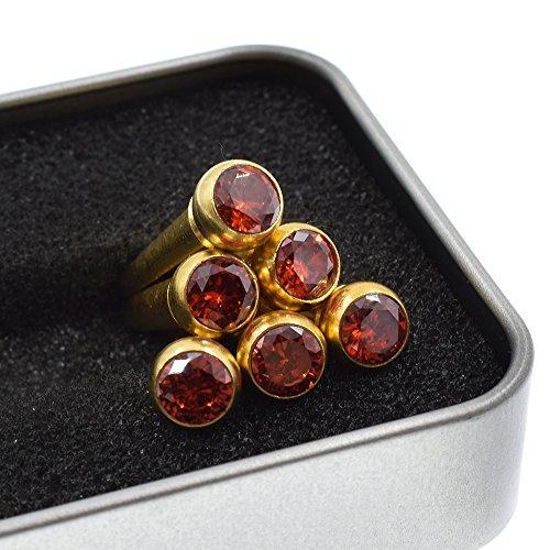CLOUDMUSIC Guitar Bridge Pins Round Head 6pcs Brass Copper for Guitar With Guitar Bridge Pin Puller (Crystal Red)