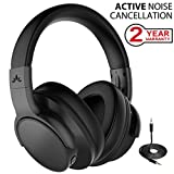 Avantree [Upgraded] ANC031 Active Noise Cancelling Wireless Headphones for Airplane Travel Mowing, Bluetooth Wired ANC Sound Cancelling Over Ear Headphones with Mic, Low Latency Hi-Fi Headset for PC