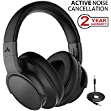 Avantree [Upgraded] Active Noise Cancelling Wireless Headphones for Airplane Travel Mowing, Bluetooth Wired ANC Sound Cancelling Over Ear Headphones with Mic, Fast Stream Hi-Fi Headset for TV PC Phone