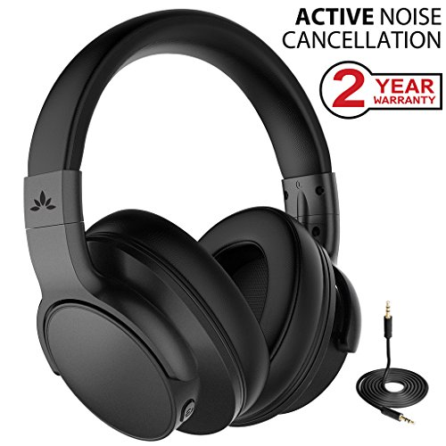 Active Noise Cancelling Wireless Headphones for Airplane Travel Mowing, Bluetooth Wired ANC Sound Cancelling Over Ear Headphones with Mic, Fast Stream Hi-Fi Headset for TV PC Phone ()