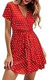 BTFBM Women V Neck Short Sleeve Polka Dot Floral Pattern A-Line Tie Belt Short Dress with Ruffle Irregular Hem (Red, Small)
