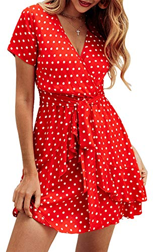 (BTFBM Women V Neck Short Sleeve Polka Dot Floral Pattern A-Line Tie Belt Short Dress with Ruffle Irregular Hem (Red, Medium))