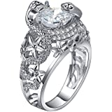 925 Silver Ring White Topaz Vintage Bone Men Women Wedding Engagement Size 6-10 (8)