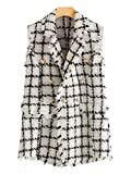 MAKEMECHIC Women's Double Breasted Houndstooth Tweed Coat Vest Outerwear